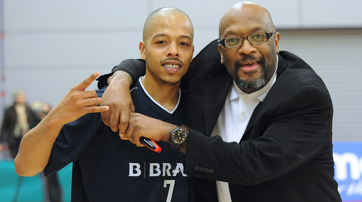 Mike Shaft with Sheffield Sharks star BJ Holmes