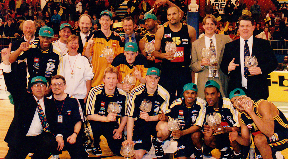 Mark wins the uniball Troophy with the Sheffield Sharks in a team that included John Amaechi and Todd cauthorn