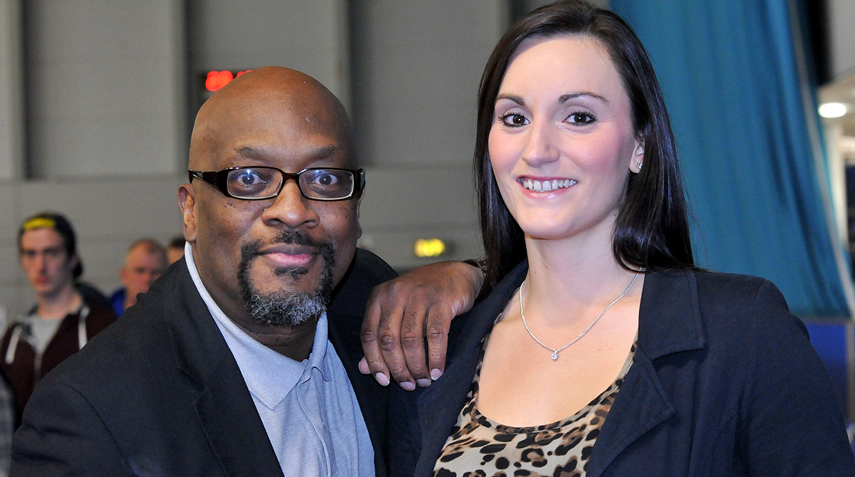 Mike Shaft with WBBL and Sheffield Hatters star Helen Naylor