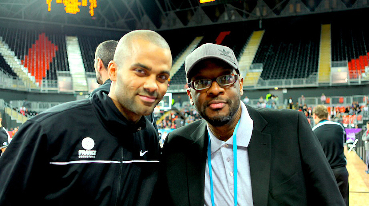 Mike Shaft with France & NBA legend Tony Parker
