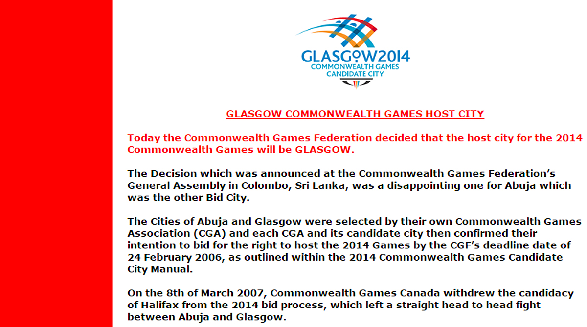 Glasgow announcement