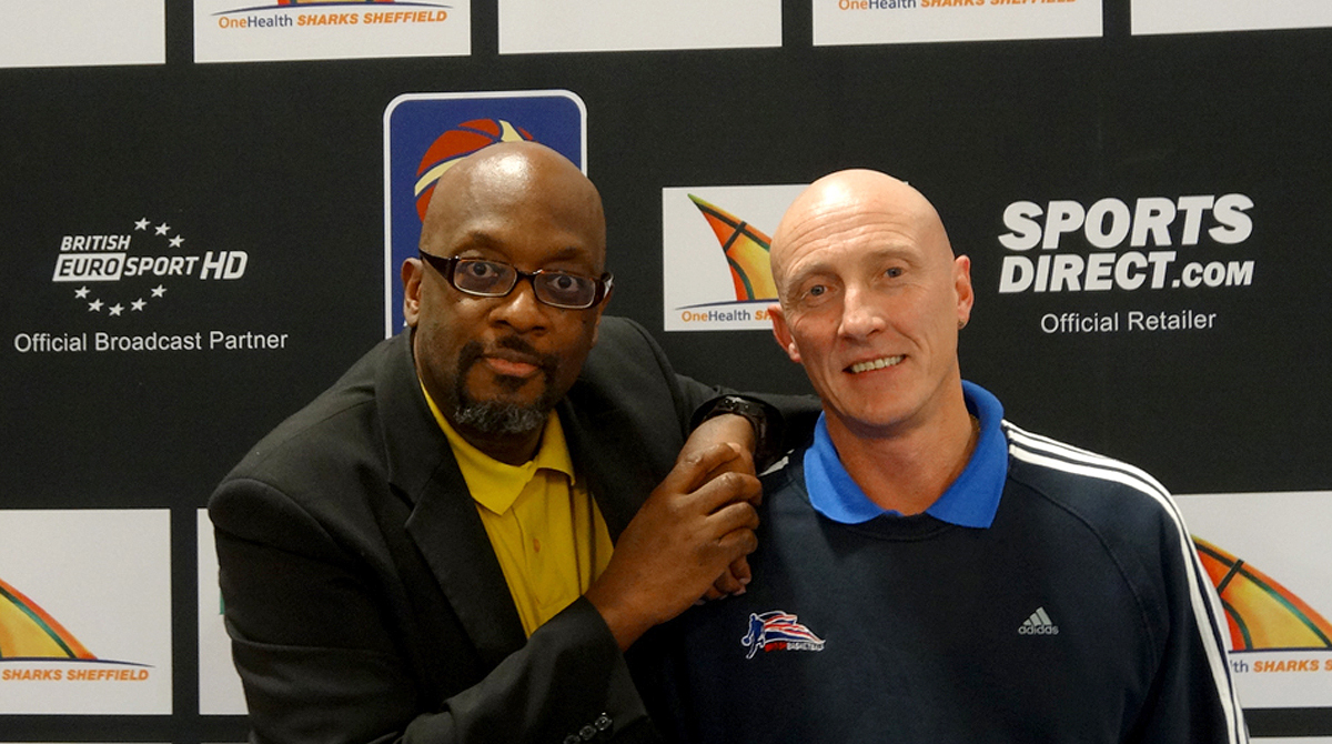 Mike Shaft with legendary British Basketball referee Roger Harrison