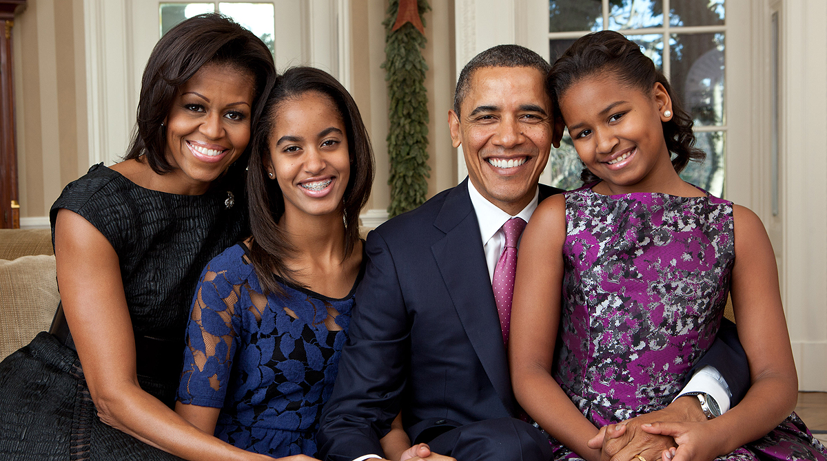 President Barack Obama, First Lady Michelle Obama, and their daughters, Sasha and Malia.